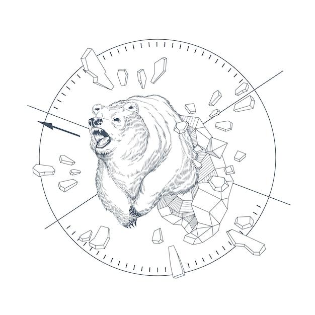 手で概念図は抽象的な幾何学的図形、怒っている野生の獣で描かれたクマ。 無料ベクター