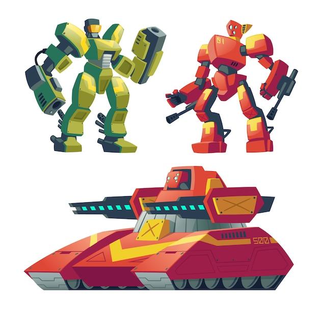 赤い戦車と漫画の戦闘ロボット。人工知能を持つバトルアンドロイド 無料ベクター