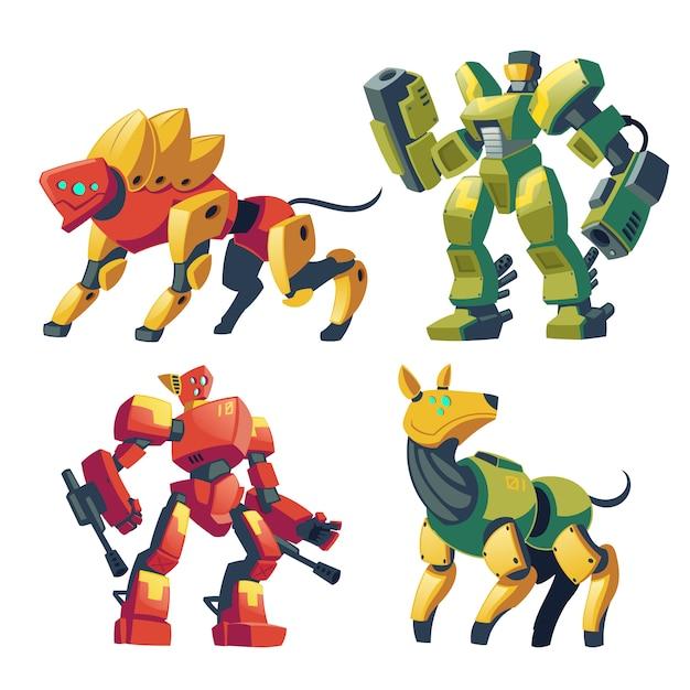 Мультфильм боевых роботов и механических собак. боевые андроиды с искусственным интеллектом Бесплатные векторы