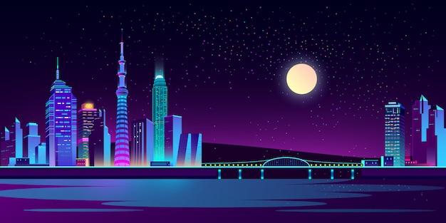 ネオンの夜の街の背景 無料ベクター
