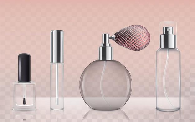 Коллекция пустых стеклянных косметических бутылок в реалистичном стиле Бесплатные векторы