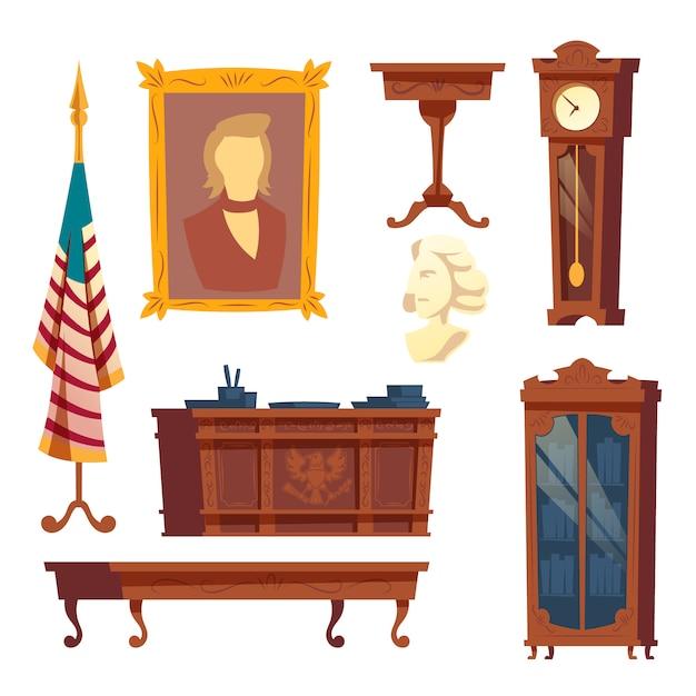 白い家からの家具の漫画コレクション 無料ベクター
