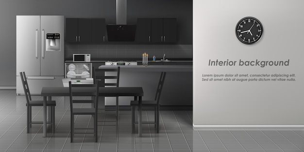モダンなキッチンインテリアの背景 無料ベクター