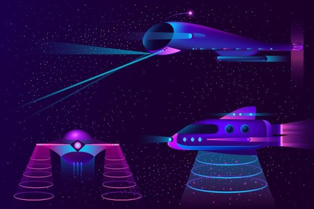 Космические корабли нло и самолеты Бесплатные векторы
