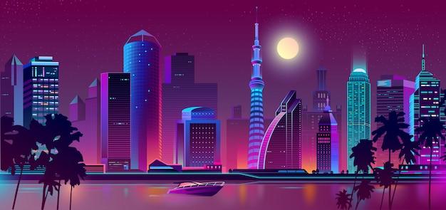 夜の紫色の街 無料ベクター