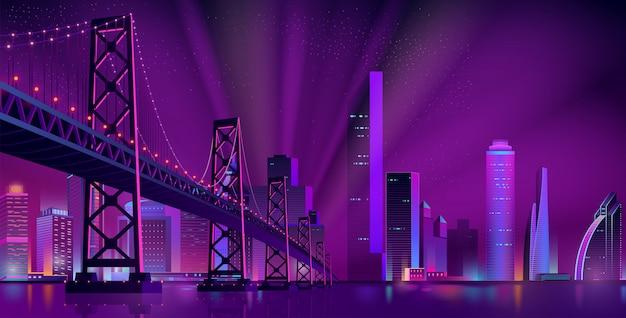 現代の夜の街の風景のベクトルの背景 無料ベクター