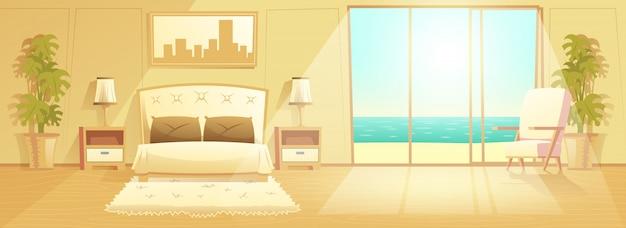 高級リゾートホテルの部屋のインテリア漫画ベクトル 無料ベクター