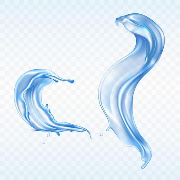 透明な背景に分離されたベクトル青い水の飛散 無料ベクター