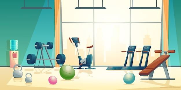 Векторный мультфильм фон тренажерного зала с большим окном Бесплатные векторы