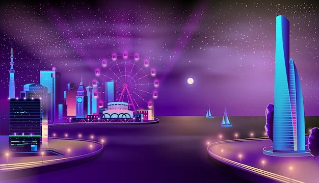 近代的な都市岸壁夜の風景漫画ベクトル 無料ベクター