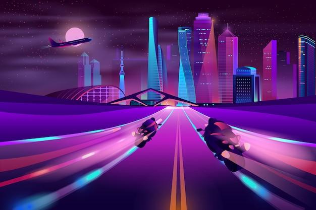Байкеры мчатся на шоссе мегаполиса вектор Бесплатные векторы