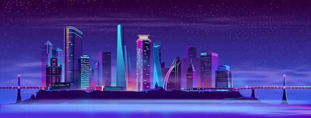 人工島のベクトルの背景に未来の街 無料ベクター