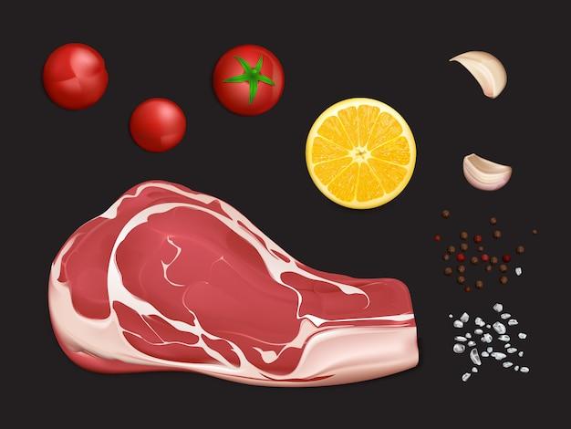 生の大理石の肉フィレ、ステーキを調理する部分またはスパイスと野菜をグリルする部分 無料ベクター