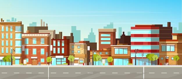 近代的な都市、町の通り 無料ベクター