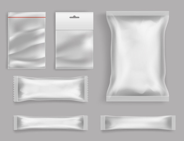Типы упаковки полиэтиленовых товаров Бесплатные векторы