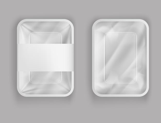 Пластиковый контейнер для еды, продуктов с бумажной крышкой или пластиковой фольгой Бесплатные векторы