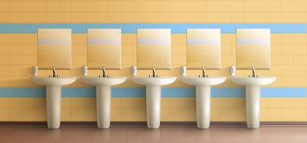 Общественный туалет минималистичный интерьер Бесплатные векторы