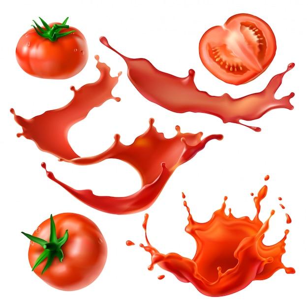 Помидоры ягодные и соки Бесплатные векторы