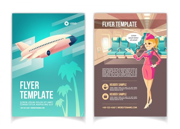 Авиакомпания, туристическое агентство услуг мультфильм брошюра или шаблон страницы буклета. Бесплатные векторы