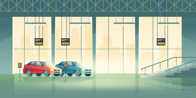 Современные седаны новых моделей стоят, ожидая покупателей в выставочном зале, дилерском центре или салоне мультфильма Бесплатные векторы