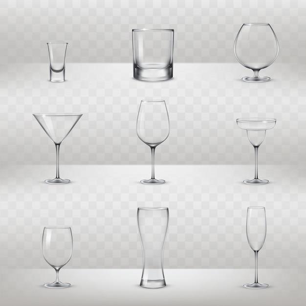 Набор очков для алкоголя и других напитков Бесплатные векторы