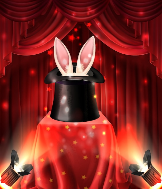Спектакль иллюзионистов, магические трюки с животными Бесплатные векторы