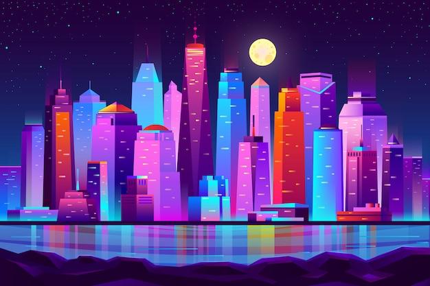 夜の街の未来的な風景の背景 無料ベクター