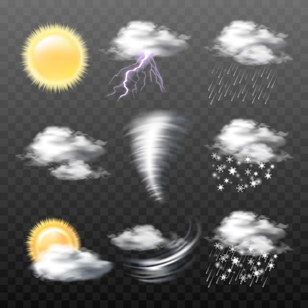 Набор векторных реалистичных значков погоды, изолированных на прозрачном фоне Бесплатные векторы