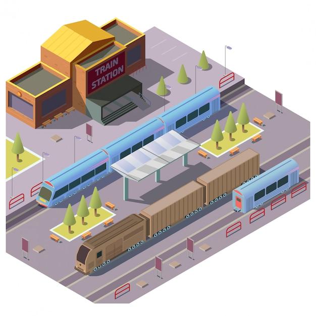 Железнодорожный транспорт на вокзале Бесплатные векторы