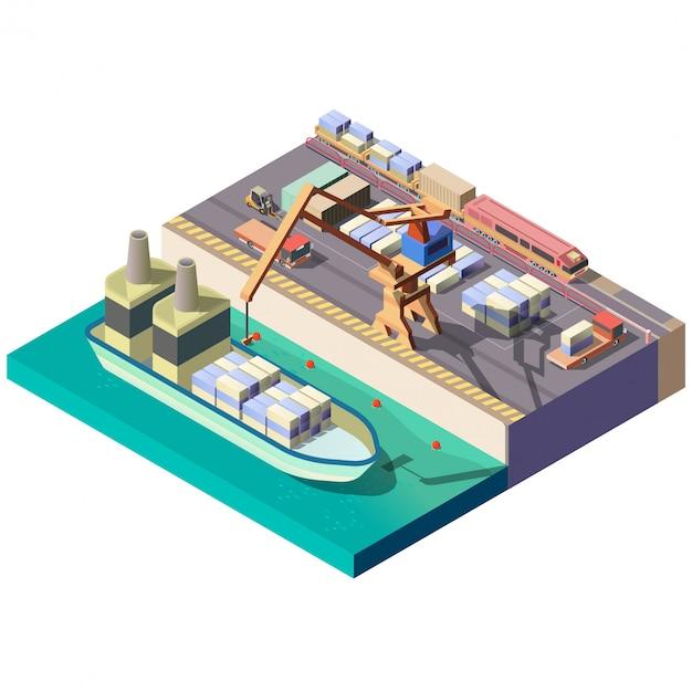 Раздел изометрической карты городского грузового порта Бесплатные векторы