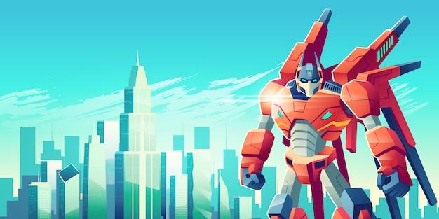 Мощный робот-трансформер-воин стоит со сжатыми кулаками Бесплатные векторы