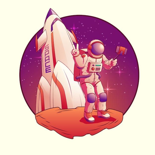 Астронавт делает селфи на луне. Бесплатные векторы