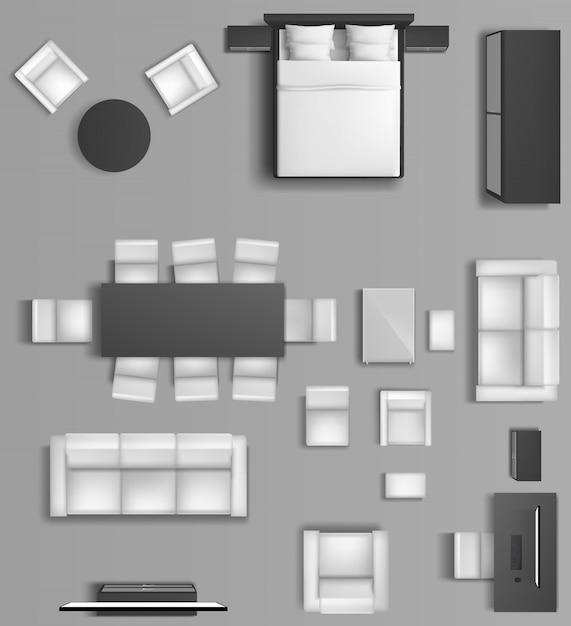 Домашний интерьер вид сверху. современные апартаменты с гостиной и спальней с мебелью. Бесплатные векторы