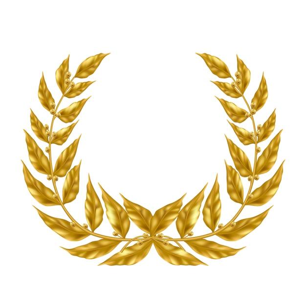 Золотой лавровый венок на белом фоне. Бесплатные векторы