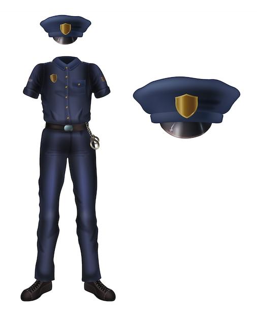 警察の制服とカカドキャップ、警官セキュリティ衣装 無料ベクター