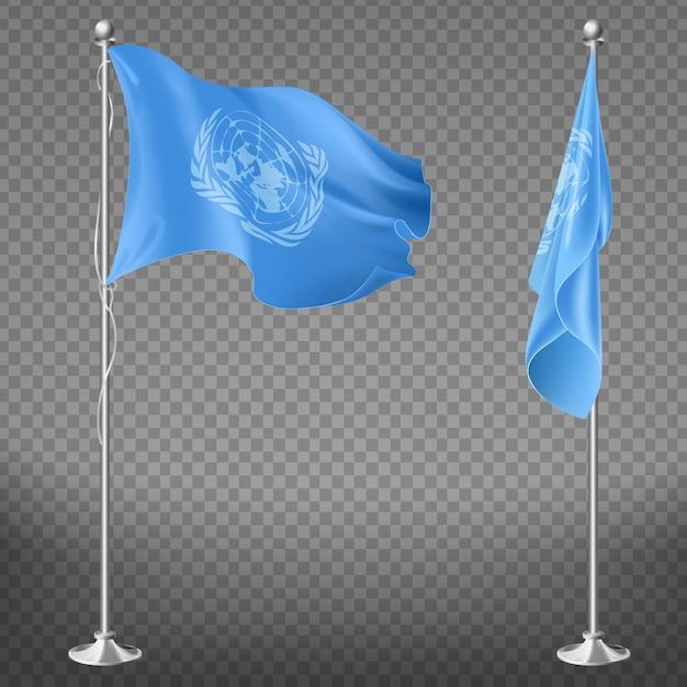 Флаг организации объединенных наций на флагштоке набор изолированных на прозрачном фоне. Бесплатные векторы