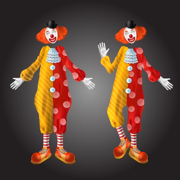Набор символов смешной клоун, изолированные на черном фоне. Бесплатные векторы
