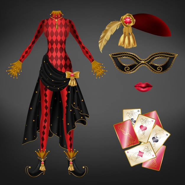 Женский джокер, реалистичный костюм арлекин Бесплатные векторы