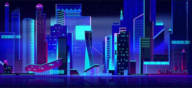 夜の時間で未来的な街並みのパノラマビュー。 無料ベクター