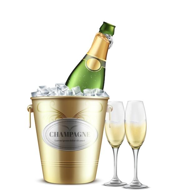 Открытая бутылка шампанского, белое игристое вино в ресторане, золотое металлическое ведро со льдом и две рюмки, наполненные газированным алкогольным напитком, реалистичным вектором Бесплатные векторы