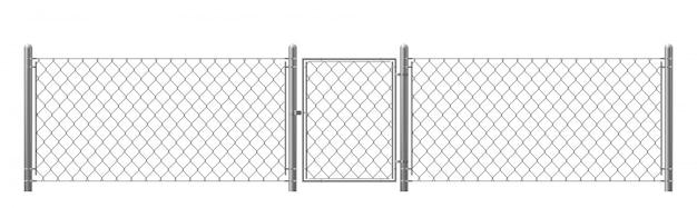 Ограда из рабицы с калиткой Бесплатные векторы