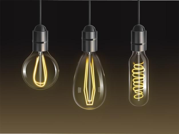 フィラメント電球を設定します。レトロなエジソンランプ、さまざまな形や電熱線がぶら下がっているフォームの白熱ビンテージ電球 無料ベクター