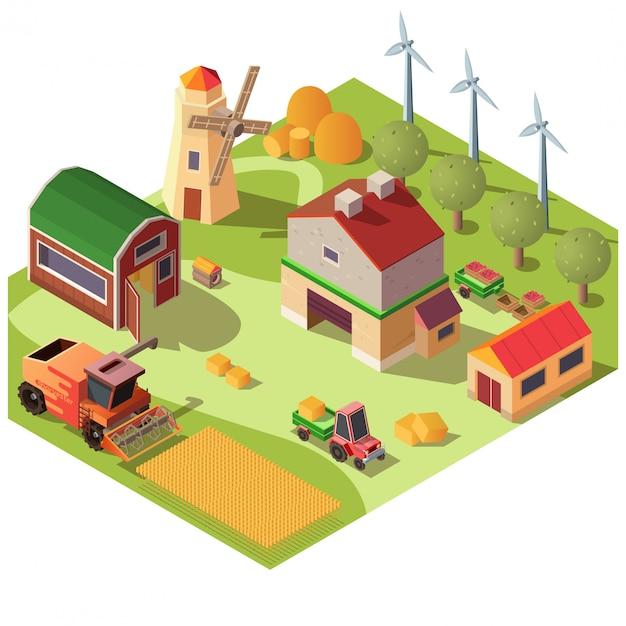 農場の建物と機械ベクトル 無料ベクター