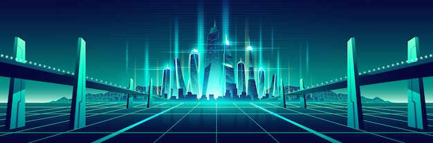 将来のデジタル世界仮想都市ベクトル 無料ベクター