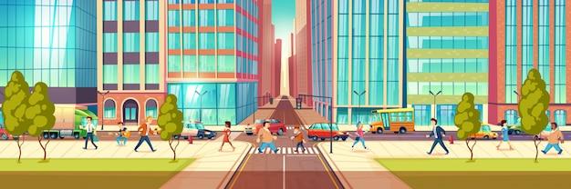街の通り、歩道を歩く町民、交差点を通過する歩行者、道路図に移動する交通でビジネスを急いでいる人々と近代的な大都市ストリートライフ漫画ベクトルの概念 無料ベクター