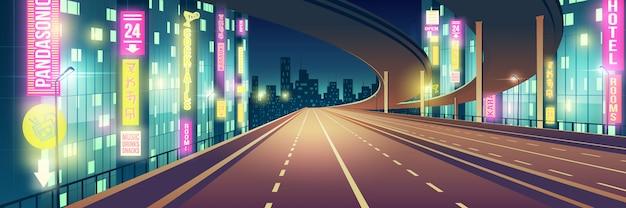 Ночной мегаполис пустой, шоссе с четырьмя полосами движения, автострада, освещенная ресторанами, гостиница, дорога и караоке-бар, неоновые цвета вывесок мультфильма векторный фон современный ночной город Бесплатные векторы
