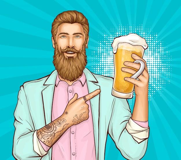 流行に敏感な人とビール祭りポップアートイラスト 無料ベクター