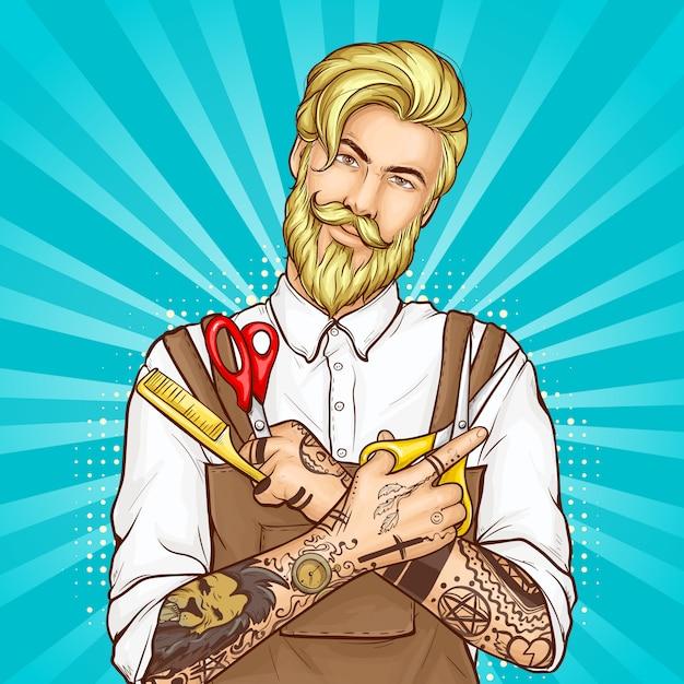 理髪店のヘアカッターポップアートのベクトルの肖像 無料ベクター