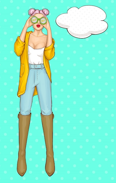 モダンでファッションの服を着た女性キャラクター 無料ベクター