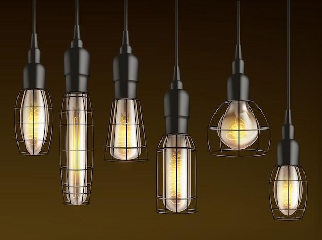 さまざまな形やサイズのぶら下げ、電熱線フィラメントと格子線ケージの現実的なベクトルを持つヴィンテージ白熱電球。暗闇の中で輝く屋外ランプ、ガレージ、カーポート照明 無料ベクター